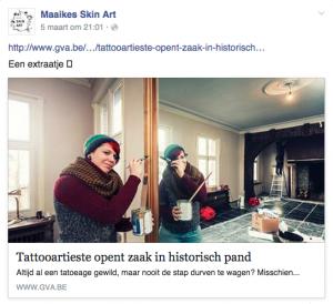 Artikel over Maaikes Skin Art in Het Laatste Nieuws