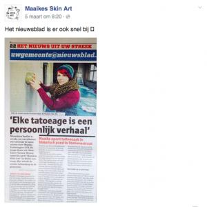 Artikel over Maaikes Skin Art in Het Nieuwsblad